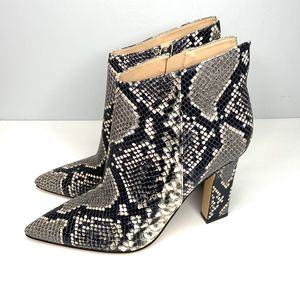 MARC FISHER Unique Snakeskin Leather Heel Booties